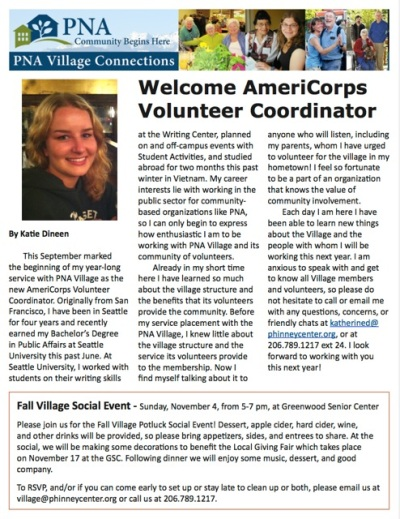 PNA Village Connections Fall newsletter