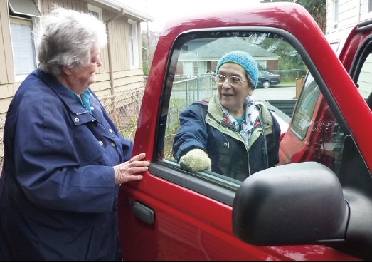 Carol Gives Marguerite a Lift: PNA Village Drivers