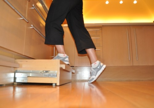 Steps cleverly placed in the toe kick of lower kitchen cabinets give sturdy access to cupboards above and let cooks avoid the risk of using a stepstool. A toe-pull built into the step negates the need to bend over. [via afriendlyhouse.com]